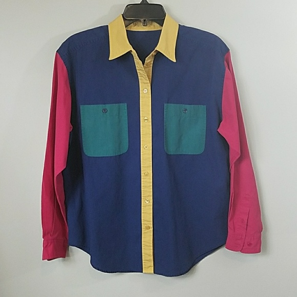 c7d475cbde14e Vintage 90s Color Block Button Down Shirt. M 5abc171a9a9455ff00d52298